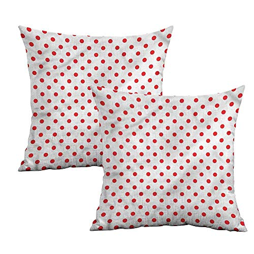 Khaki home Red Square Body Pillowcase Country Picnic Polka Dots Square Pillowcase Covers Cushion Cases Pillowcases for Sofa Bedroom Car W 24