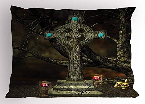 K0k2t0 Gothic Pillow Sham, Gothic Cross Tree Grave Skulls and Tombstone Lanterns Graveyard Night Art, Decorative Standard Queen Size Printed Pillowcase, 30 X 20 inches, Olive Green Aqua ()