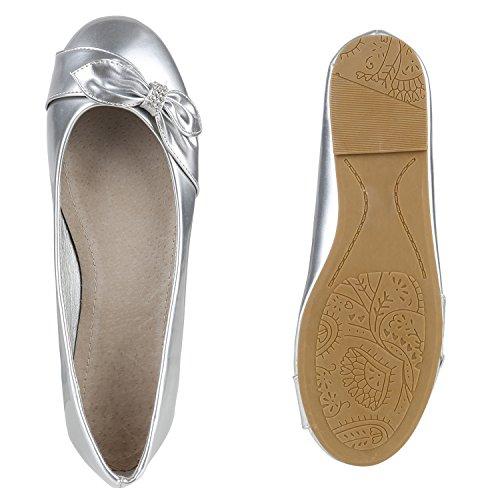 Stiefelparadies Damen Ballerinas Schleifen Klassische Ballerina Schuhe Strass Flats Metallic Übergrößen Gr. 36-44 Flandell Silber Schleife Steinchen
