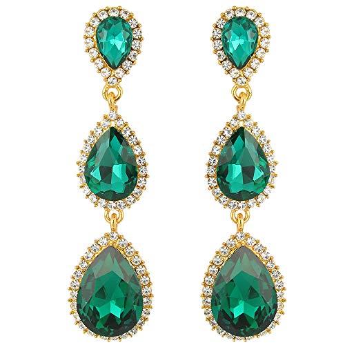 (EleQueen Women's Silver-tone Austrian Crystal Tear Drop Pear Shape Long Earrings Emeraude)
