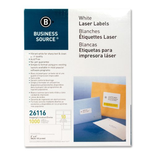 Business Source 26116 Mailing Labels, Shipping, Laser, 2 in x 4 in, 1000 count, ()