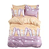 King Duvet Cover Set with Zipper Closure Luxury Soft Microfiber 4 Piece£¨1 Duvet Cover + 1 Bed Sheets + 2 Pillow Shams) Simple And Child Lovely Rabbit Ears - by Family Decor