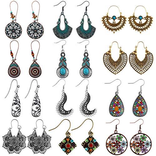 12 Pairs Bohemian Vintage Earrings Dangle Pendant Earrings Set Teardrop Earrings for Women (Style Set 3)