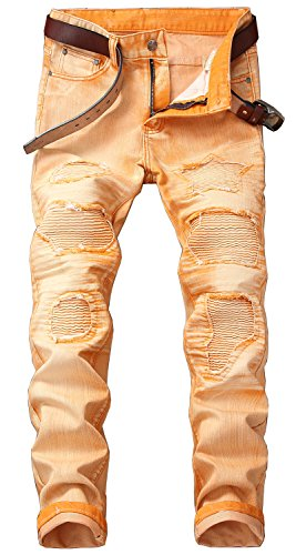 YTD Mens Distressed Ripped Biker Slim Jeans Stretched Moto Denim Pants (W36(Tag 38), Orange)