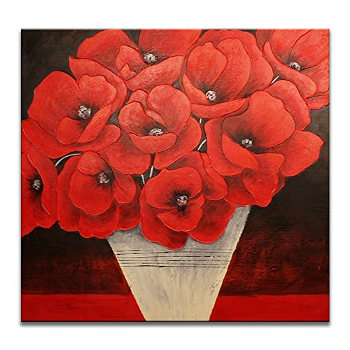 Hand Painted Wall Mural - IARTS Canvas Wall Art Red Poppy Flowers Potted 100% Hand Painted Contemporary Oil Paintings for Living Room or Office Wall decor, 24 Inches Framed