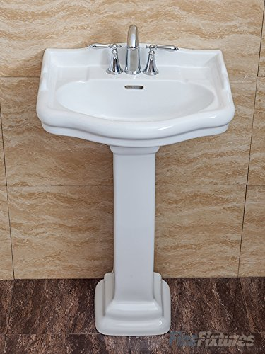 Room Collection Pedestal Column (Fine Fixtures, Roosevelt White Pedestal Sink - 22 Inch Vitreous China Ceramic Material (4 Inch Faucet Spread Hole))