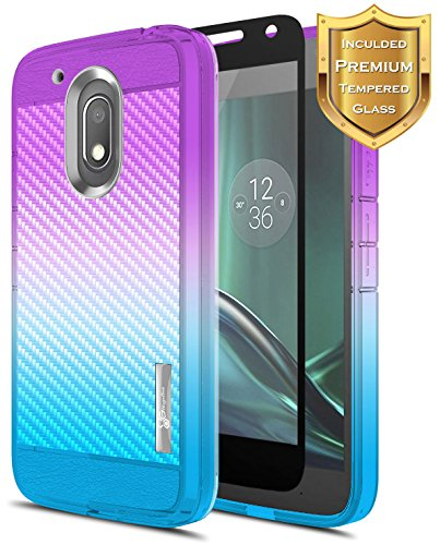 NageBee [Carbon Fiber] Case Compatible with Moto G4 Play/Motorola Moto G Play (4th gen) w/[Tempered Glass Screen Protector] [Frost Clear] Ultra Slim Soft TPU Protective Cover Case -Purple/Blue