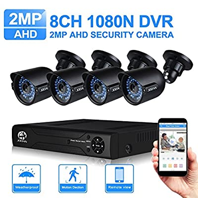 JOOAN 2MP AHD Security Camera System 4 X 1080P Weatherproof AHD Camera with 3.6mm Lens And 1080N 8CH DVR Recorder Support AHD/TVI/CVBS- No Hard Drive