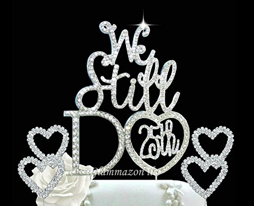 - 25th Wedding Anniversary vow renewal cake topper made in silver crystal rhinestones