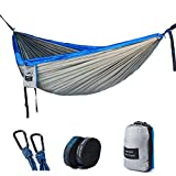 """Double Camping Hammock - Lightweight Nylon Portable Hammock with Tree Straps, Parachute Double Hammock For Backpacking/Camping/Travel/Beach/Yard. 118""""(L) x 78""""(W)"""