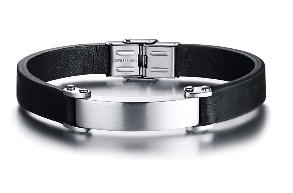 XUANPAI Personalized Custom Handmade Leather Cuff Bangle Stainless Steel ID Tag Bracelets Wristband