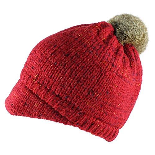 Morehats Faux Rabbit Fur Pom Pom Crochet Thick Knit Short Brim Beanie Cap Winter Ski Warm Hat - Red