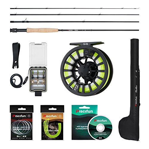 Piscifun Fly Fishing Rod and Reel Combo Fly Fishing Complete 5/6 Starter Package with Leader Loop Tippet Fly Fishing kit for Beginners