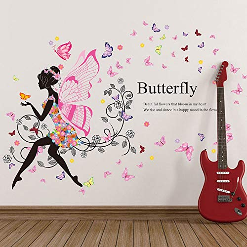 s - Butterfly Flower Fairy Stickers Bedroom Living Room Walls Home Decoration Adesivo De Parede - Reusable Kids Jungle Soccer Relax Names Patrol Orange Educational Laugh Lips Dream