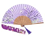 Amajiji 8.27'' Chinease/Japanese Hand Held Silk Folding Fan with Bamboo Frame,Hollow Carve Patterns Bamboo Frame Women Hand Folding Fans Hand Fan Gift fan Craft fan Folding Fan Dance Fan (HBSY-25)