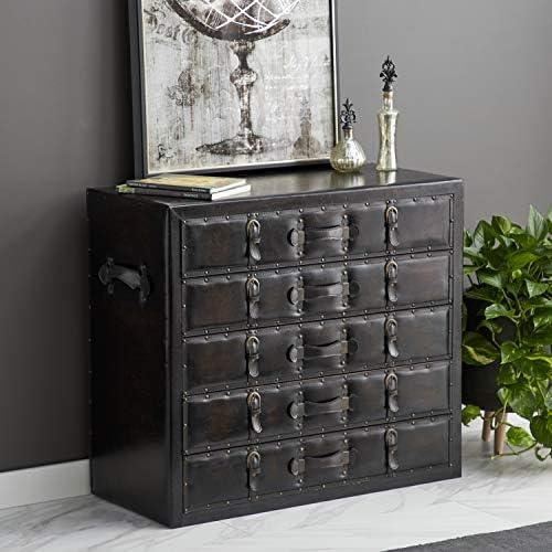 Deco 79 55738 Wood Leather Dresser