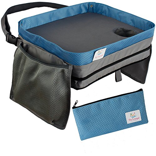 - Lap Desk For Kids Travel Tray | Bonus Pencil Case | Toddler Carseat Activities Booster Seat Car Games Airplane Accessories Stroller Organizer Portable Snack Table | Doubles as Carrying Bag or Backpack
