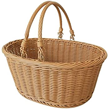 "CVHOMEDECO. Oval Imitation Rattan Storage Basket Shopping Basket Market Basket with Swimming Handle Resin Wicker Picnic Basket.Light Brown. 14""X11""X6-1/2""H"