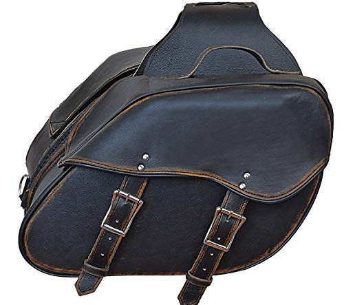 (Motorcycle Riding 2 Pc Blk Antiqe Rub off Look Leather Throw over Saddlebag with quick)