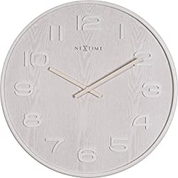 Unek Goods NeXtime Wood Big Wall Clock, Battery Operated, Round, White