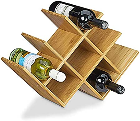 Aozean Soporte De Vino De Madera-Estante para Botellas de Vino – Botelleros Vino u Otras Bebidas – Vinoteca de Madera para 8 Botellas – Color Natural