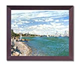 Claude Monet Tropical Beach Sailboat Landscape Picture Framed Art Print