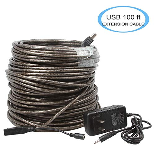 - SHARPALIN High Speed 100 Feet USB Extension Cable, USB 2.0 Male to Female 480 Mbps with AC Power Adapter and Built-in Signal Boosted to Connect Keyboard, Scanner, Printer, Webcam