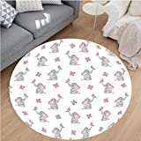 Nalahome Modern Flannel Microfiber Non-Slip Machine Washable Round Area Rug-sery Decor Baby Elephants Playing with Butterflies Lovely Kids Room Grey Light Pink White area rugs Home Decor-Round 75''