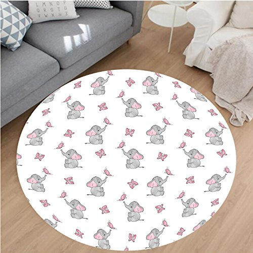Nalahome Modern Flannel Microfiber Non-Slip Machine Washable Round Area Rug-sery Decor Baby Elephants Playing with Butterflies Lovely Kids Room Grey Light Pink White area rugs Home Decor-Round 28