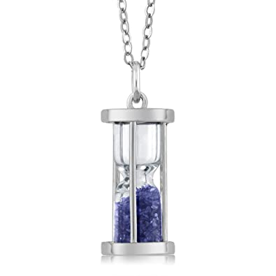 Amazon sterling silver hourglass pendant necklace with 075 ct sterling silver hourglass pendant necklace with 075 ct sapphire dust gemstone birthstone and 18quot silver mozeypictures Image collections