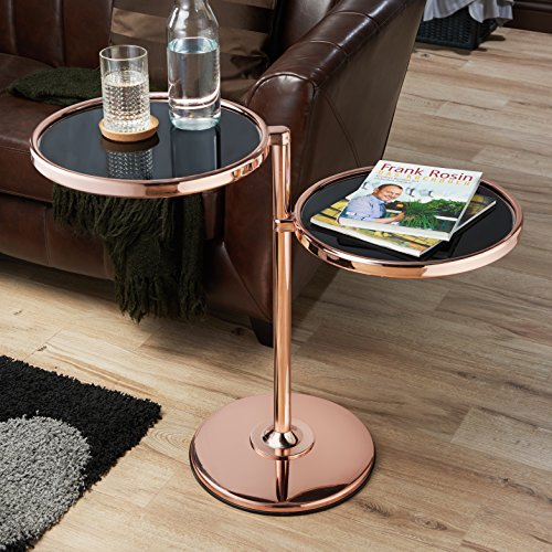 Furniture of America Cara Contemporary Round 2-shelf Motion Glass Metal End Table Rose Goldtone Finish