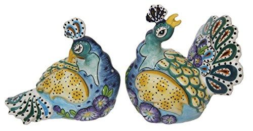 Blue Sky Ceramic Peacock Salt & Pepper Set with Box, 5 x 3.5 x 3.5
