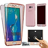 Tophie Galaxy Note 3 case(Front+Back Cover Gel Series), Shockproof TPU 360 degree Protective Clear Crystal Rubber Soft Case Cover For Samsung Galaxy Note 3 - Rose Gold