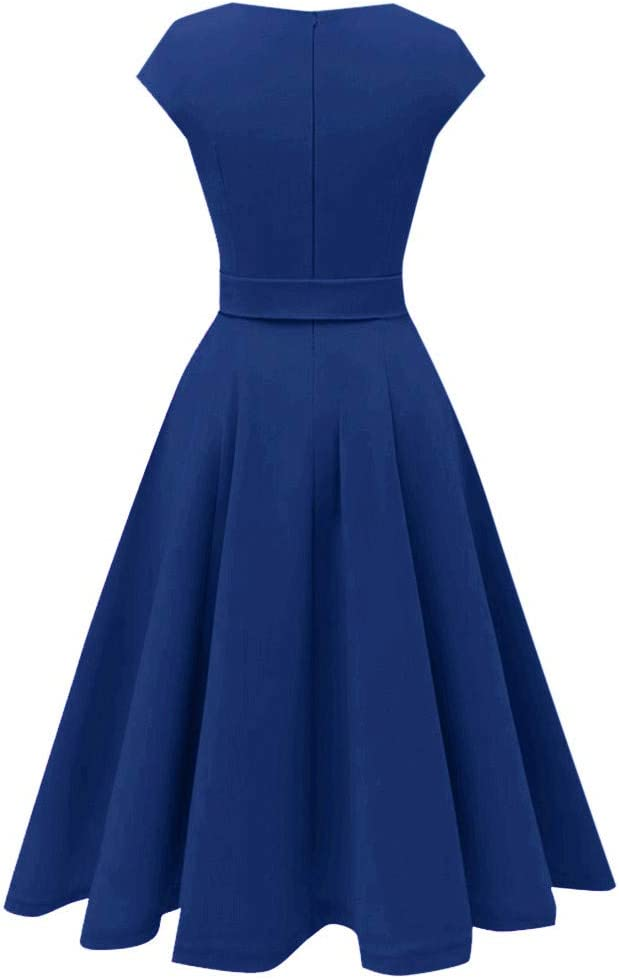 Auifor damska sukienka w stylu vintage, linia A, elegancka huśtawka, cienkie rękawy koktajlowe, linia z paskiem w kształcie łuku, sukienka na bal absolwentÓw, imprezę: Odzież