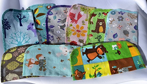 2 Ply Printed Flannel Washable. Sweet Woodland Animals- Set Napkins 8x8 inches 5 Pack - Little Wipes (R) Flannel
