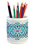 Ambesonne Arabian Pencil Pen Holder, Illustration of Old Islamic Arabesque Ethnic Antique Oriental Damask Round Motif, Printed Ceramic Pencil Pen Holder for Desk Office Accessory, Multicolor