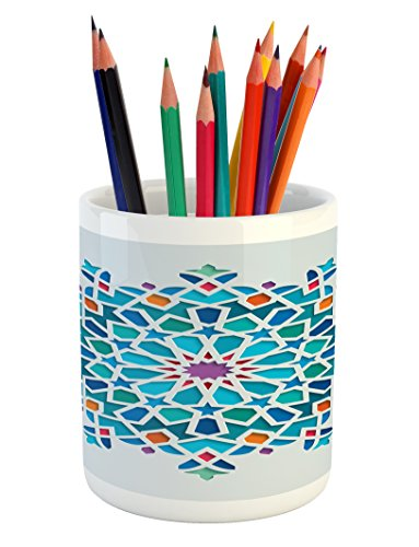 Ambesonne Arabian Pencil Pen Holder, Illustration of Old Islamic Arabesque Ethnic Antique Oriental Damask Round Motif, Printed Ceramic Pencil Pen Holder for Desk Office Accessory, Multicolor by Ambesonne