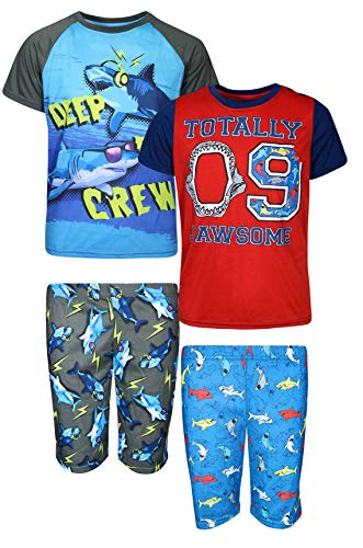 Only Boys 2 Full Sets of Comfortable T-Shirt and Shorts Pajamas (4 Piece), Jawsome/Blue Crew, Size Large - 12/14'