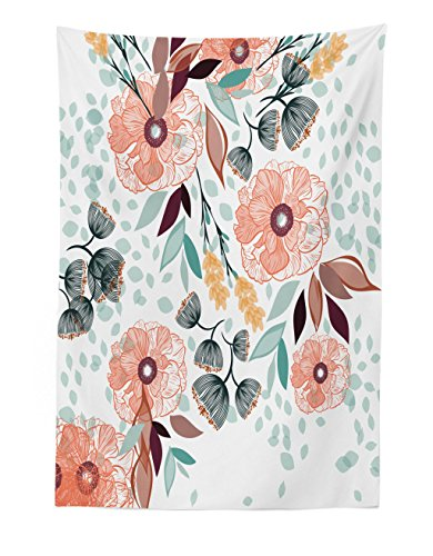 Lunarable Floral Tapestry, Pastel Color Beauty Petals Leaves Shabby Essence of Nature Garden Bluebells Pattern, Fabric Wall Hanging Decor for Bedroom Living Room Dorm, 30 W X 45 L inches, -