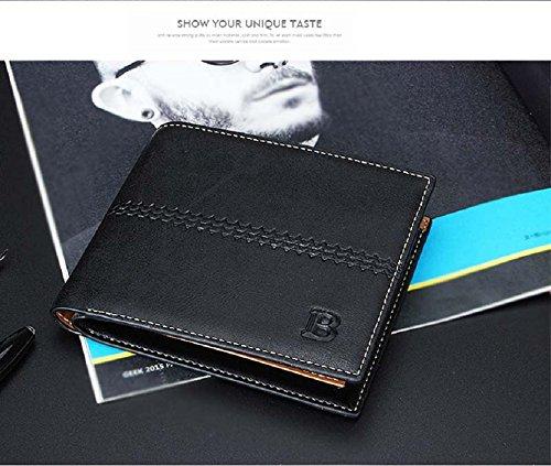 Coromose® Men's Bifold Business Leather Wallet Card Holder Wallet (Black)