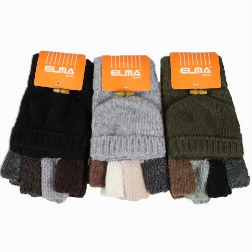 WARMEN Men's Wool Knitted Convertible Winter Fingerless Driving Gloves Mitten with Fold Back Pocket