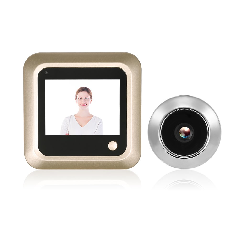 OWSOO Doorbell 2.4 inch Digital Door Eye Peephole Viewer LCD Security Camera Monitor 120° Wide Angle Lens Secretly Photo Shooting for Home Security (Gold Earth)
