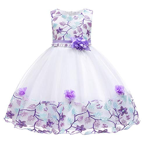 (Myosotis510 Girls' Lace Princess Wedding Baptism Dress Long Sleeve Formal Party Wear for Toddler Baby Girl (4 Years, Sleeveless Purple))