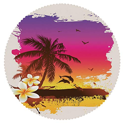 iPrint Stylish Round Tablecloth [ Luau,Tropical Sunset in Retro Watercolor Style Palm Trees on The Beach Image,Brown Fuchsia Marigold ] Decorative Tablecloth Ideas