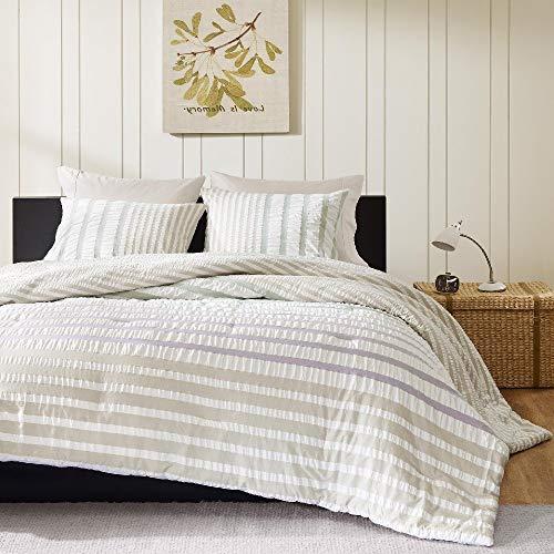 (HNU 3 Pieces Mid-Century Comforter Set King, Ivory Bedding Modern Contemporary Striped Textured Classic Seersucker Lightweight Multi Color Elegant Casual)