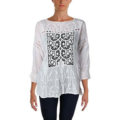 Johnny Was Womens Battenburg Lace Embroidered Casual Top White M by Johnny Was
