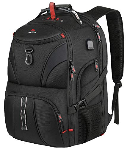 Matein Extra Large Backpack, 18 Inch Travel Laptop Backpack with Weight Scale and USB Port, Anti Theft TSA Friendly Water Resistant Big Computer Bag Fit Gaming Laptops for Women and Men, 55L, Black (Best 18 Laptop Backpack)