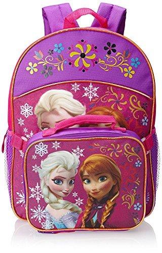 Frozen Elsa Anna Pink School Backpack Lunch Box Book Bag Combo SET -