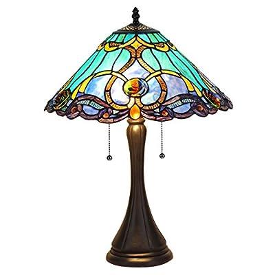 "Chloe Lighting CH835372BV16-TL2 Tiffany Tiffany-Style 2 Light Victorian Table Lamp 16"" Shade, Multi"
