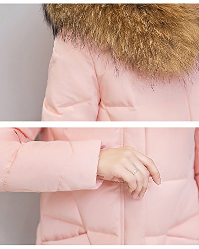 Jacket Coat Light Outdoor Pink Middle Hooded Weight Down Ultra Women's Packable Cihui Long FPqAq